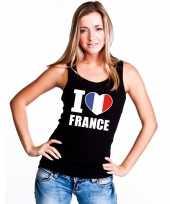 Zwart i love frankrijk fan singlet shirt tanktop dames trend