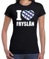 Zwart i love fryslan t-shirt dames trend