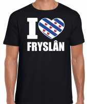 Zwart i love fryslan t-shirt heren trend