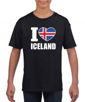Zwart i love ijsland fan shirt kinderen trend