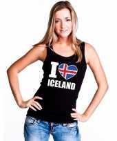 Zwart i love ijsland fan singlet-shirt tanktop dames trend