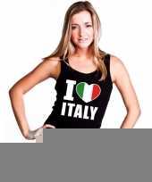 Zwart i love italie fan singlet-shirt tanktop dames trend