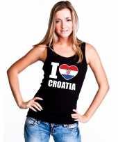 Zwart i love kroatie fan singlet-shirt tanktop dames trend