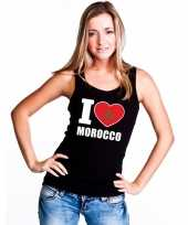 Zwart i love marokko fan singlet-shirt tanktop dames trend
