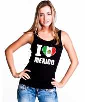 Zwart i love mexico fan singlet-shirt tanktop dames trend