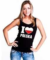 Zwart i love polen fan singlet-shirt tanktop dames trend
