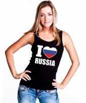 Zwart i love rusland fan singlet-shirt tanktop dames trend