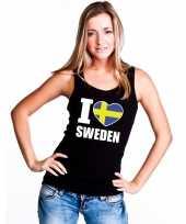 Zwart i love zweden fan singlet-shirt tanktop dames trend