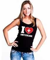 Zwart i love zwitserland fan singlet-shirt tanktop dames trend