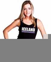 Zwart ijsland supporter singlet-shirt tanktop dames trend
