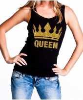 Zwart koningsdag queen tanktop met gouden glitters dames trend
