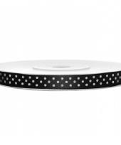 Zwart lint met witte stippen 6 mm trend