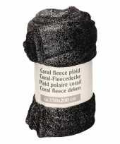 Zwart met zilveren glitters fleece deken 150 x 200 cm trend