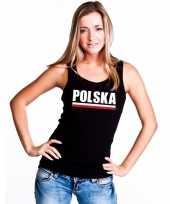 Zwart polen supporter singlet-shirt tanktop dames trend