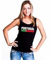 Zwart portugal supporter singlet-shirt tanktop dames trend