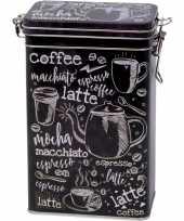 Zwart rechthoekig koffieblikken bewaarblikken met cafe print 19 cm trend