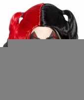 Zwart rode harley look a like damespruik met staarten trend