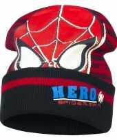 Zwart rode spiderman muts voor jongens trend