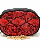 Zwart rood slangenprint heuptasje schoudertasje 19 cm trend