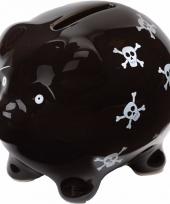 Zwart spaarvarken met doodshoofden 9 cm trend