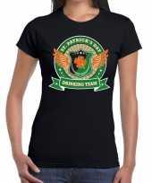 Zwart st patricks day drinking team t-shirt dames trend