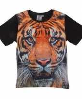 Zwart t-shirt met tijger voor kinderen trend