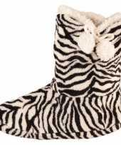 Zwart wit dames slof sokken met zebraprint trend