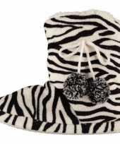 Zwart wit dames sloffen met zebraprint trend