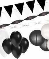 Zwart witte feest versiering pakket xxl trend