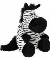 Zwart witte pluche zebra knuffel 33 cm trend