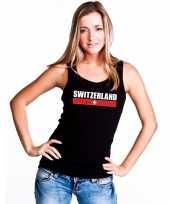 Zwart zwitserland supporter singlet-shirt tanktop dames trend