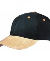 Zwarte 6 panel cap met suede look trend