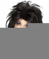 Zwarte 80s rockster pruik dames trend