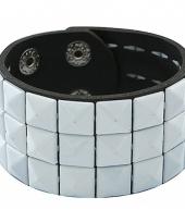 Zwarte armband met witte studs trend