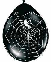 Zwarte ballonnen met spinnenweb 8 stuks trend