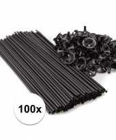 Zwarte ballonstaafjes 100 stuks trend