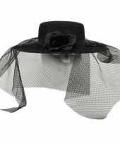 Zwarte bruid hoed met sluier trend