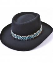 Zwarte cowboy hoeden van vilt trend
