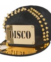 Zwarte disco cap met gouden versiering trend