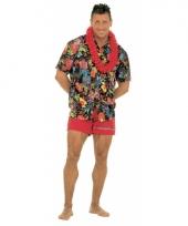 Zwarte hawaii blouse voor volwassenen trend