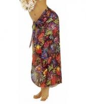 Zwarte hawaii verkleed sarong rok voor dames trend