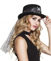 Zwarte hoed met glitter spin voor dames trend