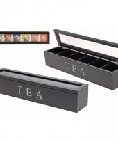 Zwarte houden theedozen 43 cm trend