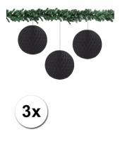 Zwarte kerstversiering ballen van papier 10 cm 3 stuks trend