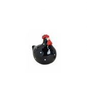 Zwarte kippen deco beeldje 8 cm trend
