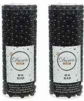 Zwarte kralenslinger kerstslinger 10 mtr 2 stuks trend