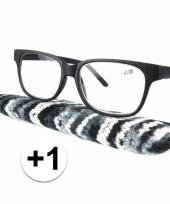 Zwarte leesbril 1 met stoffen hoesje trend