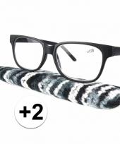 Zwarte leesbril 2 met stoffen hoesje trend