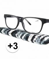 Zwarte leesbril 3 met stoffen hoesje trend