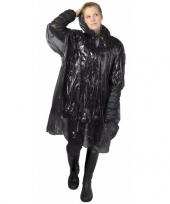 Zwarte poncho met capuchon voor volwassenen trend
